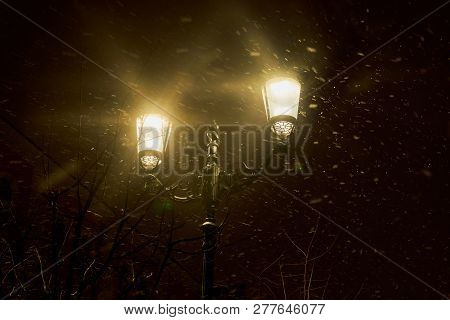 Lamppost In The Evening In The New Year Under