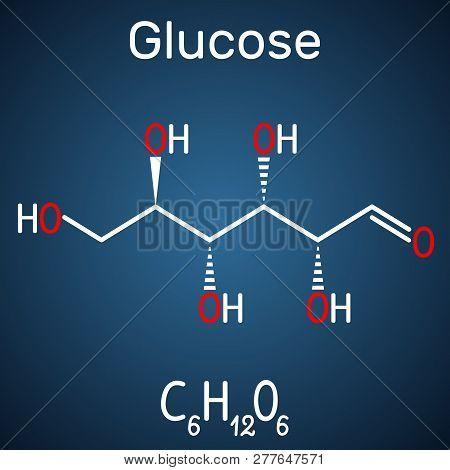 Glucose (dextrose, D-glucose) Molecule. Linear Form. Structural Chemical Formula On The Dark Blue Ba