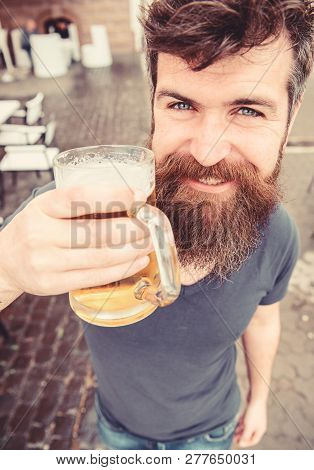 Guy Having Rest With Cold Draught Beer. Hipster On Smiling Face Drinking Beer Outdoor. Draught Beer