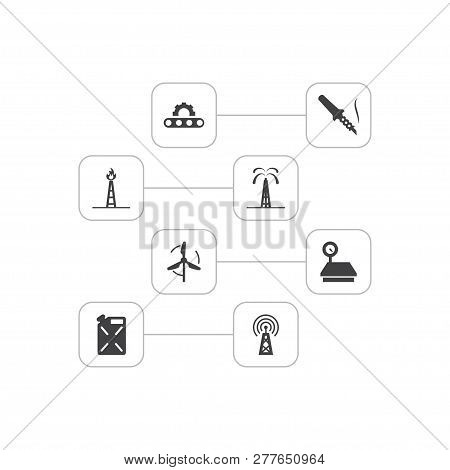 Set Of 8 Industry Icons Set. Collection Of Deployment, Telecommunication, Scale And Other Elements.