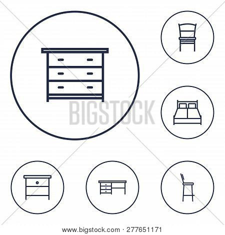 Set Of 6 Situation Icons Line Style Set. Collection Of Chair, Stool, Worktop And Other Elements.