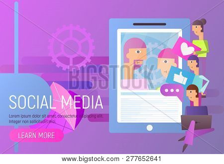 Social Media Concept. Young People Using Mobile Gadgets - Laptop And Smartphone For Social Networkin