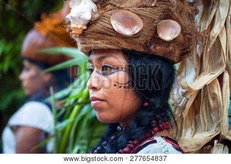 Xcaret, Mexico - July 19, 2011: Woman at pre-hispanic Mayan performance called