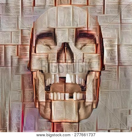 Abstract skull design. Books or newspapers background. 3D rendering