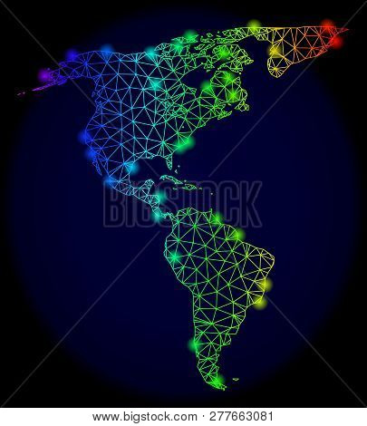 Bright Spectrum Mesh Vector Map Of South And North America With Glare Effect. Abstract Lines, Triang