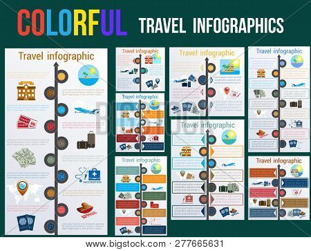 Tourism And Travel Concept In Infographics. Templates 3,4,5,6,7,8,9,10 Positions. Motorway Arrow, Pa