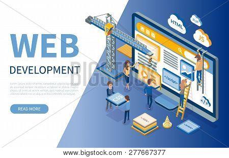Web Development, Developers Optimizations Of Sites Vector. Programming Of Application, Script Writin