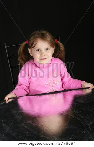 Child On Dark Background, Keeps In Hand Reflector