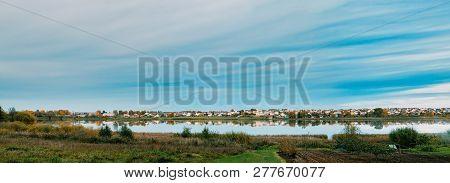 Glubokoye, Vitebsk Region, Belarus. Panoramic View Basilian Church Of St Peter And Paul And Monaster