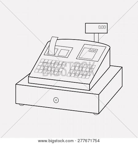 Cash Register Icon Line Element. Vector Illustration Of Cash Register Icon Line Isolated On Clean Ba