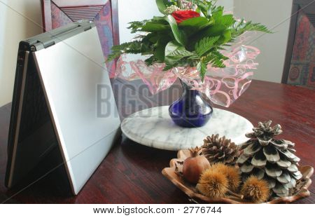Laptop Computer And Flowers