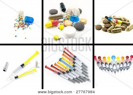 A Collage Of Pills And Syringes