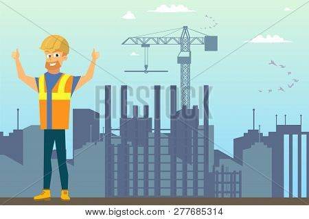 Building New House Flat Vector Concept Or Ad Banner Template With Happy Smiling Builder In Uniform A