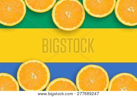 Gabon Flag  In Citrus Fruit Slices Horizontal Frame