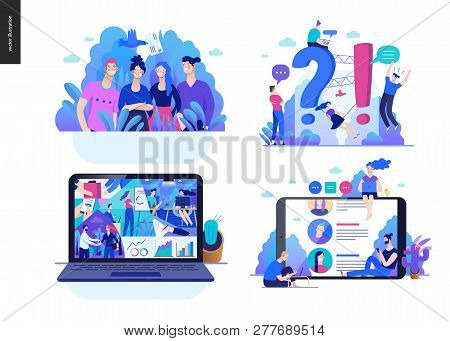 Business Series Set, Color 2 -modern Flat Vector Concept Illustrated Topics - About The Company, Faq