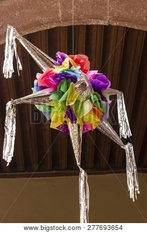 Traditional colorful pinata star shape from mexico. Important part of parties and celebrations in me