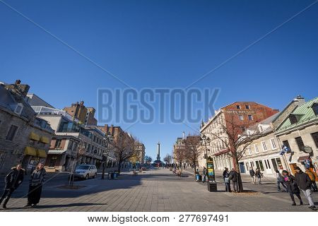 Montreal, Canada - November 4, 2018: Nelson S Column, In Downtown Old Montreal, On Place Jacques Car