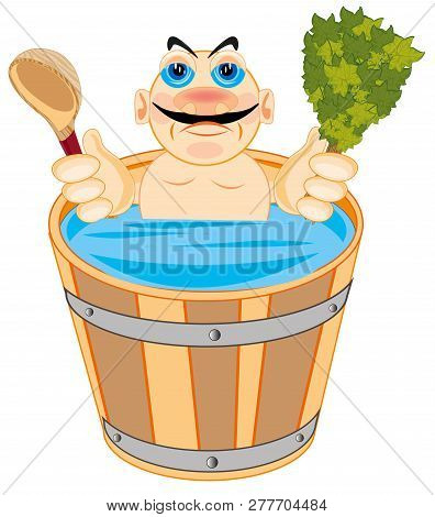 Man Is Washed In Bath With Besom