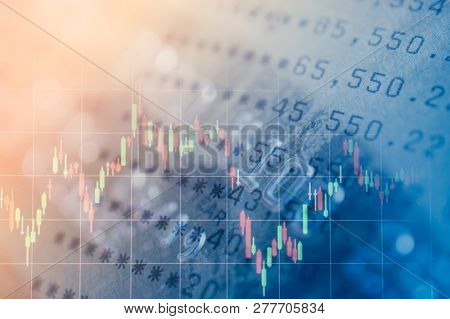 Double Exposure Of Bankbook And Credit Card With Graph , For Business And Finance Background