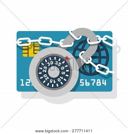 Lock With Chain On Credit Card. Protection Concept Credit Card. Padlock With Password. Vector Illust