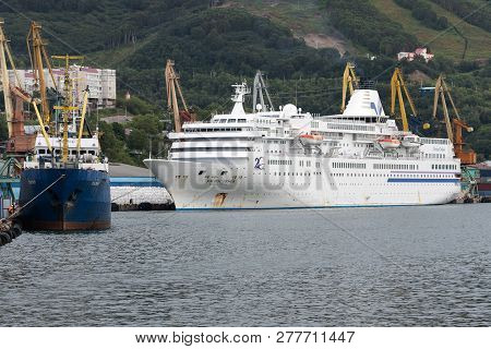 Petropavlovsk City, Kamchatka Peninsula, Russia - 4 Sep, 2018: Summer View Of Commercial Seaport Of