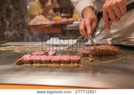 Japanese Chef Use Knife And Fork To Cook Japanese Kobe Beef
