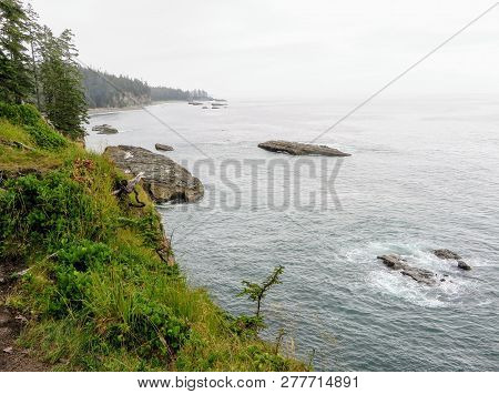 The Rugged Coast Of Vancouver Island Along The Famous West Coast Trail Hike, In British Columbia, Ca