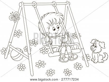 Smiling Boy On A Toy Swing On A Playground In A Park, Black And White Vector Illustration In A Carto