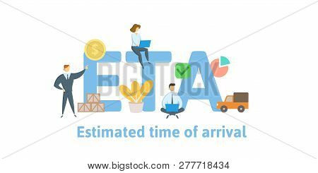 ETA, Estimated Time of Arrival. Concept with keywords, letters and icons. Flat vector illustration. Isolated on white background. poster
