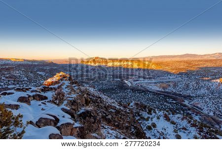 Rio Grande Valley. Black Mesa On The Left In Distance In San Ildefonso Pueblo, Left From The Center