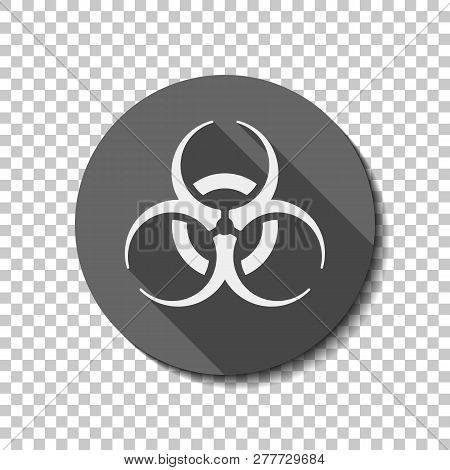 Bio Hazard Icon. Warning Sign About Virus Or Toxic. Flat Icon, Long Shadow, Circle, Transparent Grid