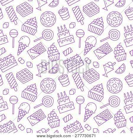 Sweet Food Seamless Pattern With Flat Line Icons. Pastry Vector Illustrations - Lollipop, Chocolate