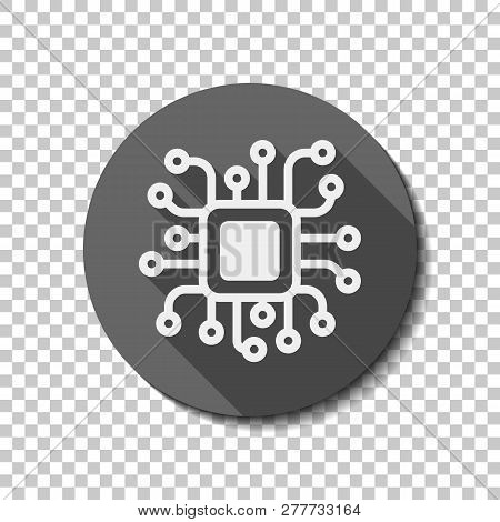 Processor Chip, Computer Microchip, Cpu Chipset. Technology Icon. Flat Icon, Long Shadow, Circle, Tr