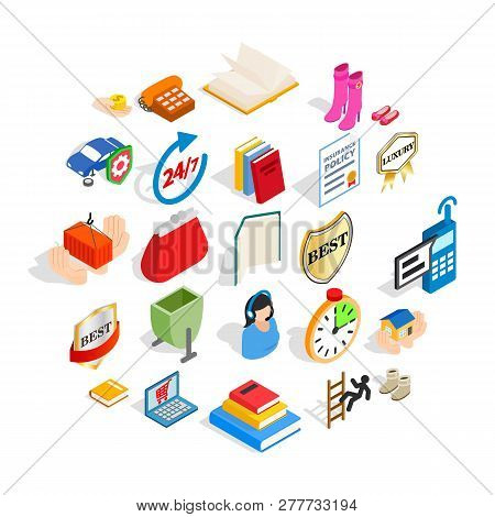 Commercial Icons Set. Isometric Set Of 25 Commercial Vector Icons For Web Isolated On White Backgrou