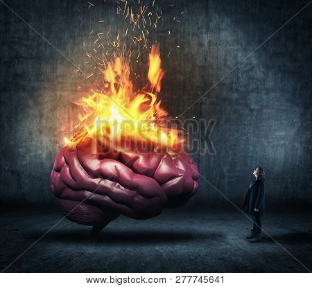 Woman Looks Up To A Human Brain On Fire.