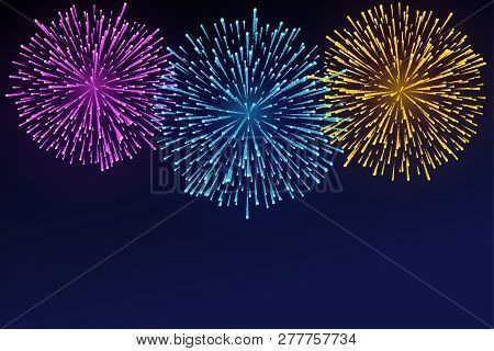 Fireworks Brightly Colorful. Bright Lights On Twilight Background. Festive Firework. Vector Illustra