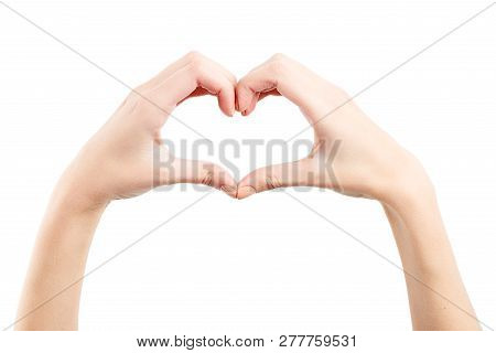 Female Hand Isolated On White Background. White Woman's Hand Showing Symbols And Gestures. Korean He