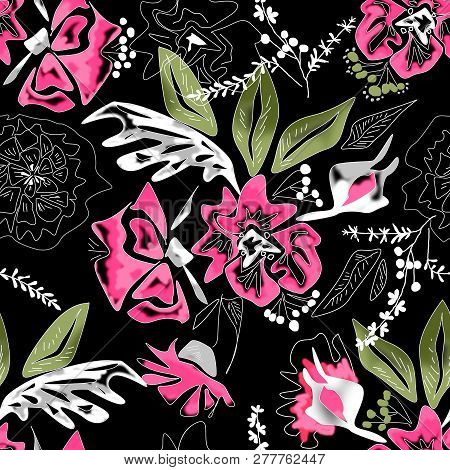 Seamless Floral Pink Flowers Leaves Sketched Patten Background