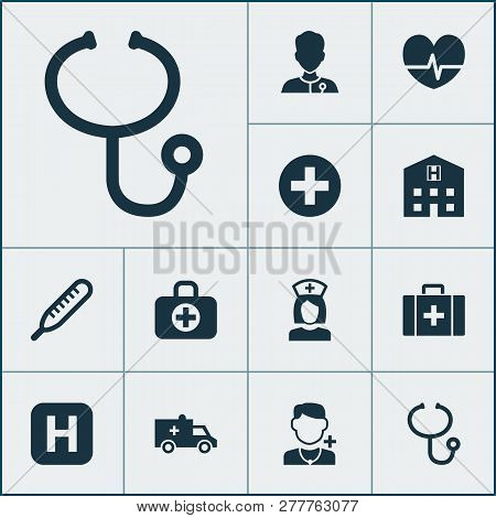 Drug Icons Set With Doctor, Case, Medic And Other Mercury Elements. Isolated Vector Illustration Dru