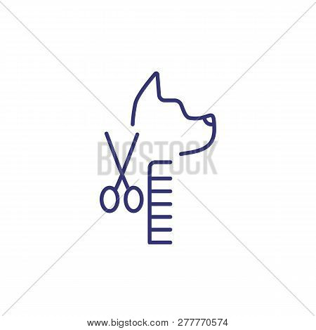 Grooming Service Line Icon. Dog Service, Long Hair Dog, Pet Salon. Veterinary Concept. Vector Illust