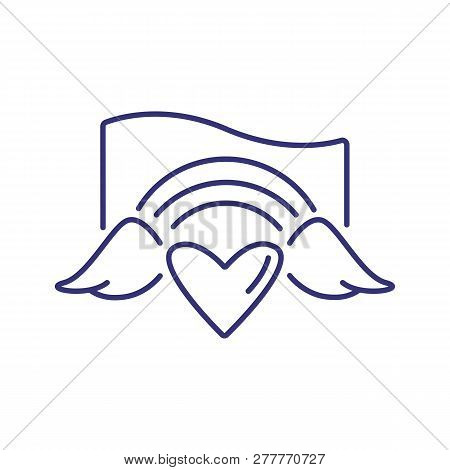 Heart With Wings And Rainbow Line Icon. Lgbt Community, Homosexual Relationships, Bisexual Relations