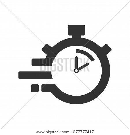 Fast Time Delivery Icon, Stopwatch In Motion, Deadline Concept, Clock Speed. The 10 Seconds, Minutes