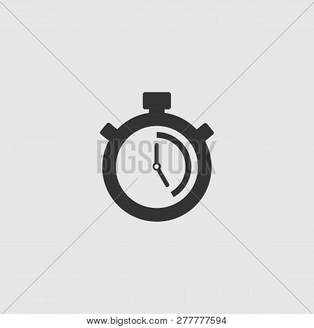 Stopwatch Vector Icon. The 25 Seconds, Minutes Stopwatch Icon On Gray Background. Clock And Watch, T