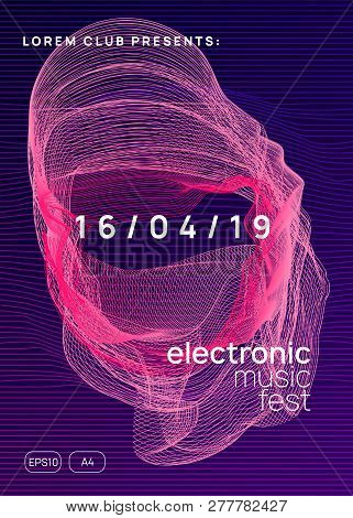 Electronic Fest. Dynamic Gradient Shape And Line. Wavy Concert Invitation Design. Neon Electronic Fe