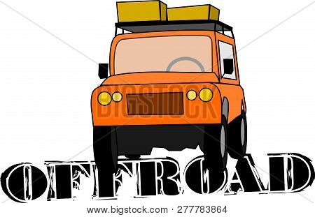 Orange All-terrain Vehicle With Suitcases And Lettering Offroad