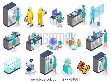 Microbiology Isolated Isometric Icon Set With Science Employers Microscope Laboratory And Biochemist