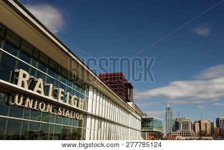 Raleigh,nc/usa - 1-8-2019: View Of The Exterior Of Union Station Train Depot In Downtown Raleigh, Nc