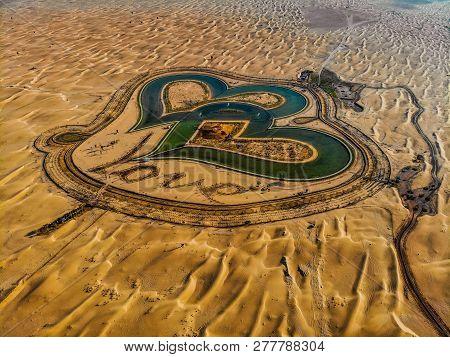 Aerial View Of Entire Love Lake Dubai At Al Qudra. A New Tourist Destination In The Vicinity Of Al Q