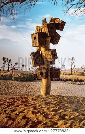 Man-made Wooden Bird Nest At Love Lake Dubai, Al Qudra Lakes. Dubai Love Lakes Is The Latest Tourist