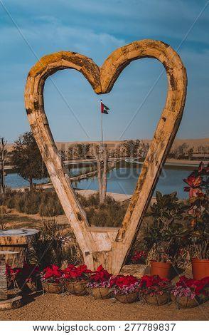 Uae National Flag Through Heart At Dubai Love Lake, The Newest Attraction At Al Qudra Lake In Dubai